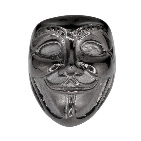 "Unisex Guy Fawkes Ring ""Anonymous Mask"" Black Edition"