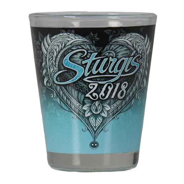 Official 2018 Sturgis Motorcycle Rally Angel Heart Wings Shotglass