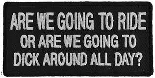 Are We Going To Ride or Are We Going To Dick Around All Day Funny Biker Patch - 4x2 inch