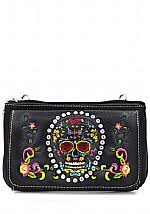 Leather Sugar Skull Clip Purse With Bling