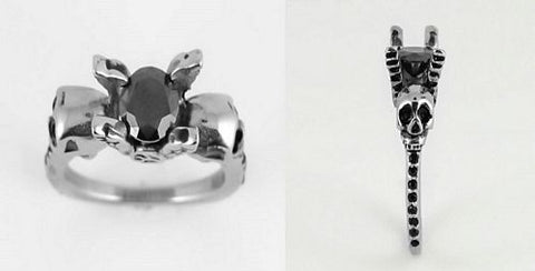 Skull Ring Wings with Stone and Bling Black