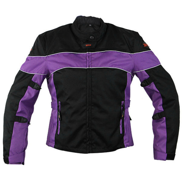 Xelement CF464 'Aegis' Women's Black/Purple Jacket Tri-Tex Armored Motorcycle Jacket