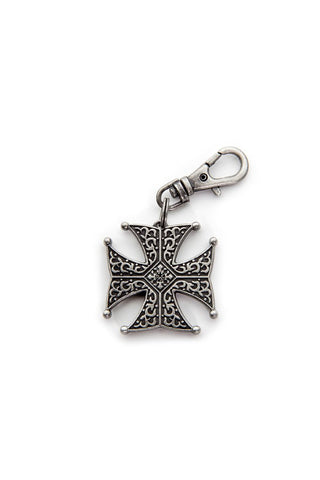 ANTIQUE SILVER IRON CROSS STONE ZIPPER PULL