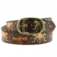Barbed Wires & Skulls Embossed Leather Belt