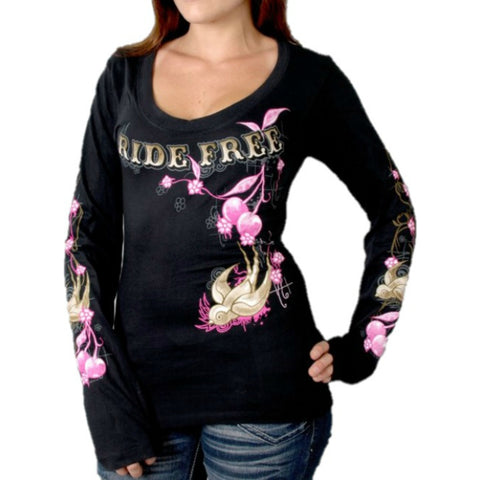 Ladies Cherries Scoopneck Long Sleeve T-Shirt