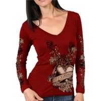 Banner Heart Heather Red Long Sleeve Ladies Shirt