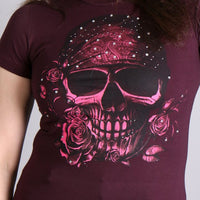 Bandana Skull with Crystal Studs Ladies Full Cut Tee