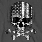 Mens Charcoal Long Sleeve Flag Skull Shirt