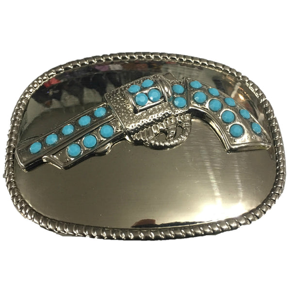 SILVER BUCKLE WITH TURQUOISE COLOR STUDDED GUN