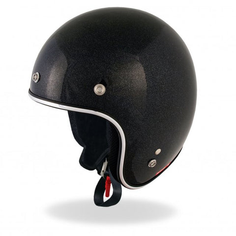 D.O.T. Open Face Black Flake Helmet