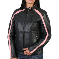 Pink Striped Leather Jacket with Reflective Piping