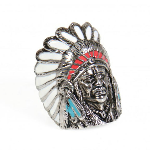 Painted Native Indian Chief Ring