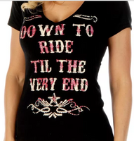 Down to Ride Ladies V-Neck