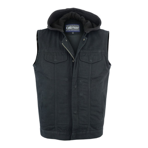 Men's Black Denim Single Back Panel Concealment Vest w/Removable Hood