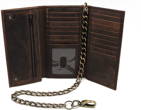 RFID Blocking Men's Biker Vintage Brown Genuine Leather Long Tri-fold Chain Wallet