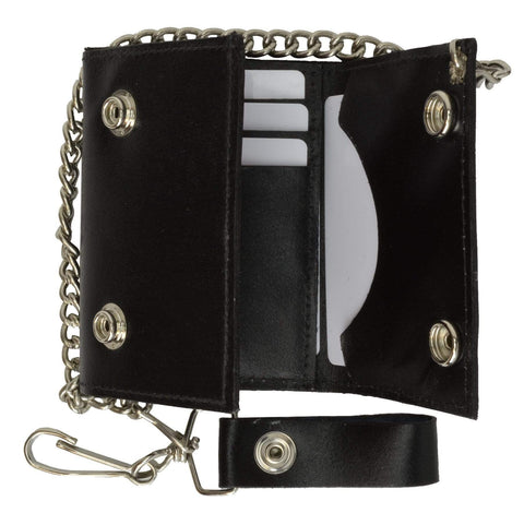 Genuine Black Leather Chain Wallet