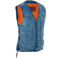 Men's Single Back Panel Concealed Carry Denim Vest