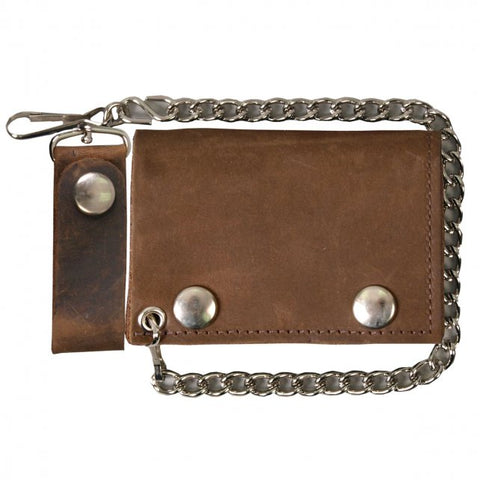 Distressed Brown Tri-Fold Wallet