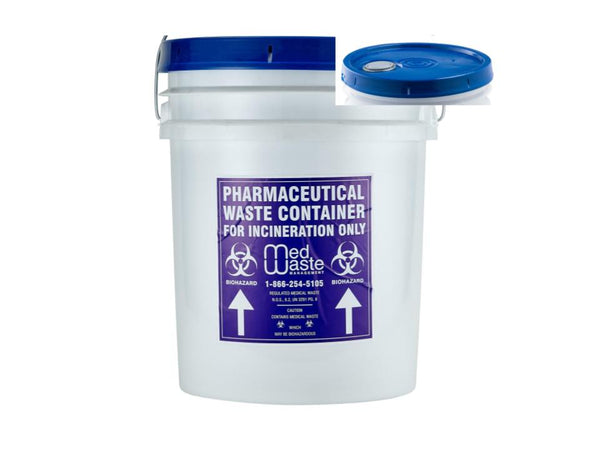 5 Gallon Pharmaceutical Waste Bucket- Snap Shut Lid With Screw Spout