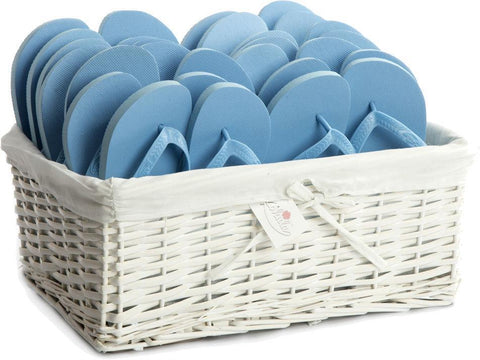 sky blue flip flops in basket