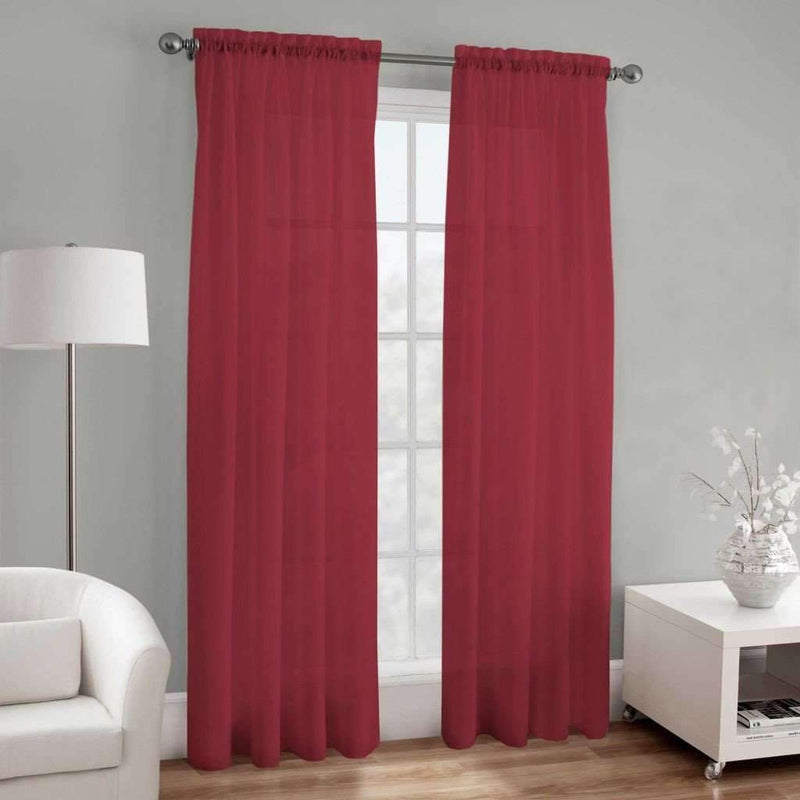 "Elegance Sheer Voile 84"" Rod Pocket Panel - Red - Magasins Hart 