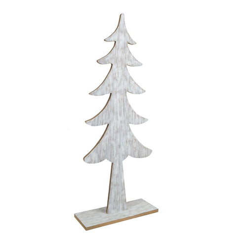 "34.5"" Wood Tree On Base, White Wash"