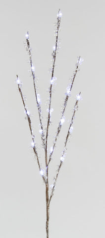 3 Pk 2.5'Led Twig Stake With Clear Beads