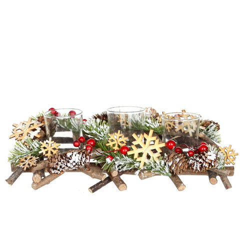 "6""X 12""Wood Cluster Triple Candle Holder"