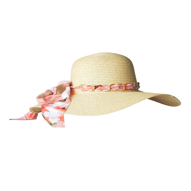 Straw Hat with Floral Ribbon - Magasins Hart | Hart Stores