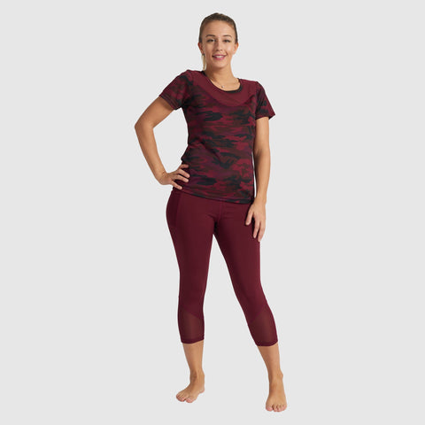 Burgundy Camo Active T-Shirt