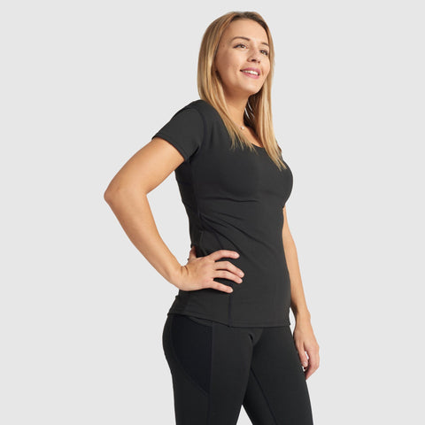Activewear Black Top with Mesh Back