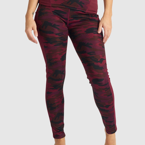 Burgundy Camo Leggings