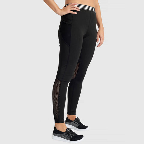 Activewear Black Leggings with Striped Band