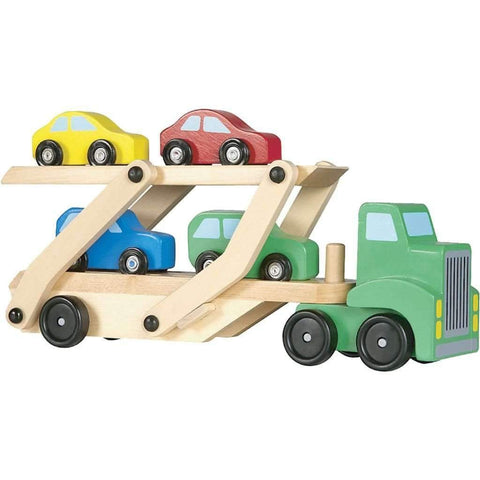 Melissa & Doug - Car Carrier Truck & Cars Wooden Toy Set
