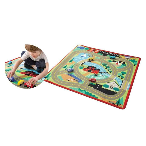 Melissa & Doug - Round the Town Race Track Rug & Car Set