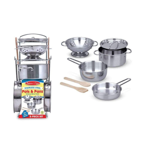 Melissa & Doug - 8 Piece Stainless Steel Toy Pots And Pans Set