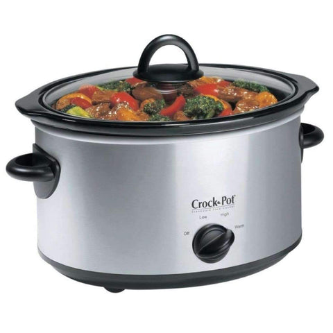 Crock-Pot - 5QT Oval Manual Slow Cooker with Little Dipper Food Warmer, Stainless