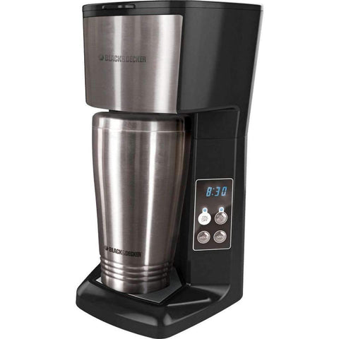 Black & Decker - Programmable Single Serve Coffee Maker with Travel Mug