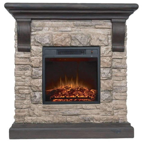 1500W Faux Stone Fireplace