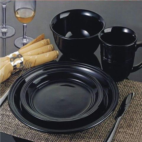 16 Piece Dinnerware Set, Black