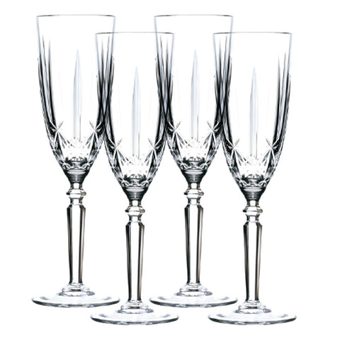 Set of 4 Orchestra Bohemia Crystal Flutes 200ml