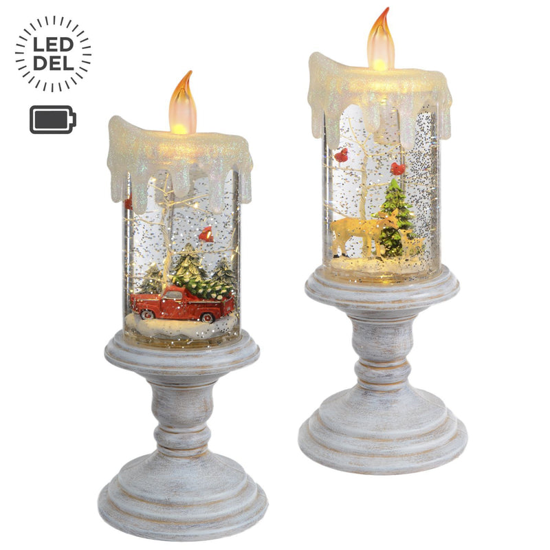 "2 Asst 10"" Led Water Fillled Candle B/O - Magasins Hart 