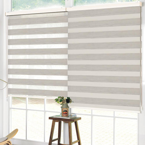 Stores Jour & Nuit avec Motif Aspect Bois - Beige | Wood Look Printed Roller Blind Day & Night - Beige