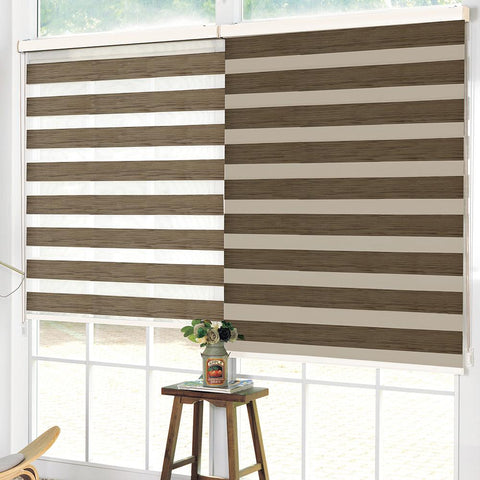 Wood Look Printed Roller Blind Day & Night - Brown