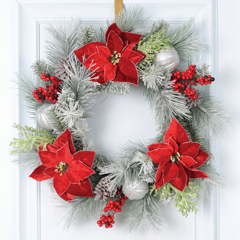 "24""Frosted Mixed Pine Wreath, Poinsettia"