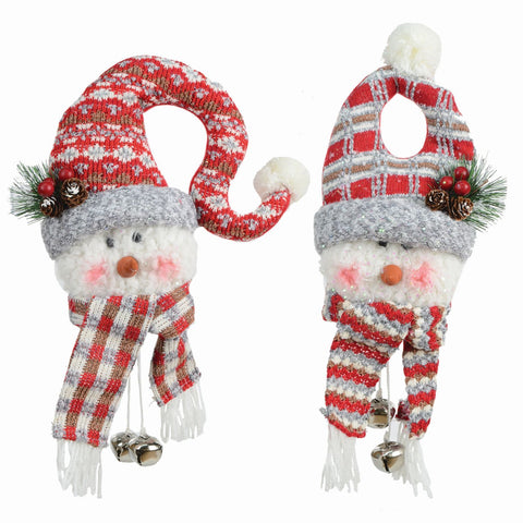 "2 Asst 16"" Fabric Hanging Snowman Head"