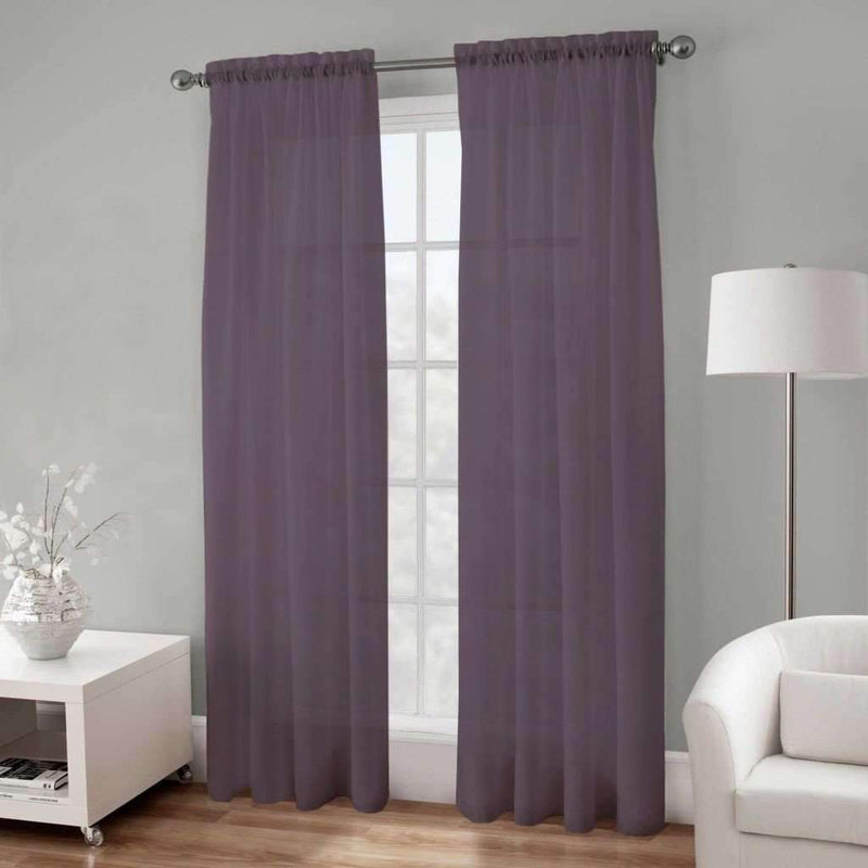 "Basic Elegance Rod Pocket Voile Panel 54x84"" - Plum - Magasins Hart 