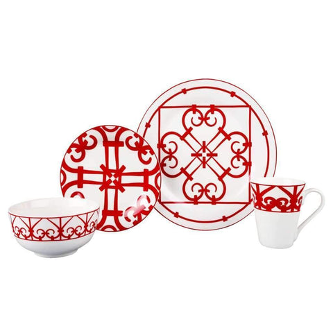 Service de table 16 morceaux - Rouge | Dinnerware Set 16pc Red Round Shape Printed
