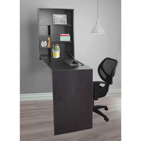 Bureau mural pliable - Brun Foncé | Wall Mounted Fold Out Desk, Espresso