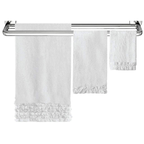Hand Towel Ruffled Cotton White 15x26in
